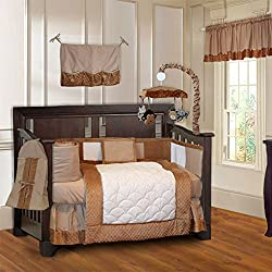 BabyFad Minky Brown Unisex 10 Piece Baby Crib Bedding Set