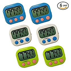 RUNTIM Digital Kitchen Timer, Big LCD Screen Loud Alarm Strong Magnetic Backs and Stand, Homework Game Exercise Kid Timer, Minute Seconds Count Up Countdown and Simple Operation Cooking Timers(6 pack)