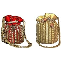 Ruhi's Creations Elegant Satin with Jaipur Heavy Work Potli Combo (Golden and Red)
