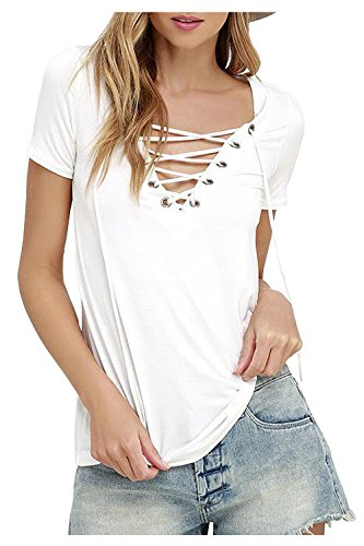 Aifer Women's Sexy Plain Short Sleeve Deep V Neck Lace Up Casual Basic T-shirt Blouse Tops (Silky Cotton Blouse)