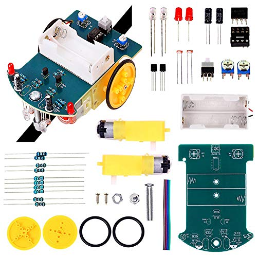 IS Icstation Smart Tracking Car Soldering Project Robotics DIY Kit Electronic Assemble Set with DC Motor Science School Competition Educational Tool Creative Gift