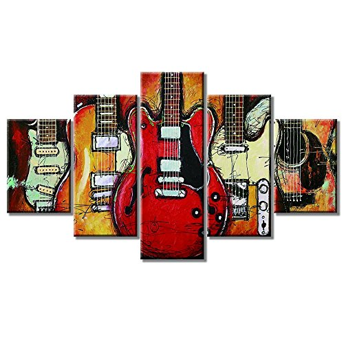 "Guitar Music Wall Art Abstract Artwork Canvas Prints Home Decor for Living Room Bedroom Office Modern Still Life Pictures 5 Panel Posters HD Printed Painting Framed Ready to Hang (50""Wx24""H, a)"