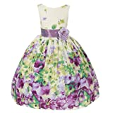 Kids Dream Little Girls Lavender Flower Print Sash Easter Dress 2T