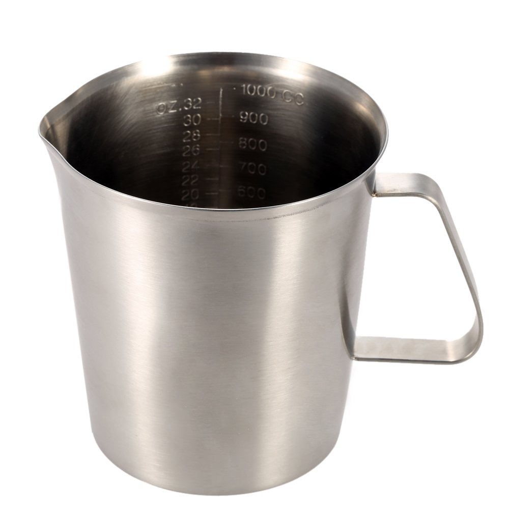 Anself Stainless Steel Milk Pitcher Jug Coffee Foam Container Measuring Cup Kitchen Tool 500/1000/1500ML