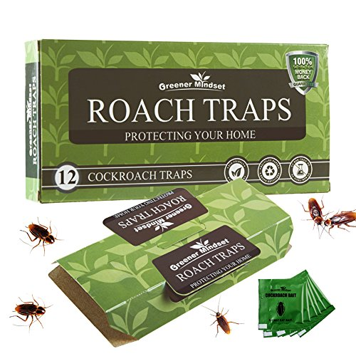 Greener Mindset 12 Pack Cockroach Traps with Bait Included |