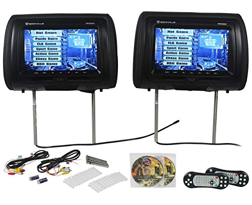 "Rockville RVD951-BK 9"" Black Dual DVD/USB/HDMI/SD Car Headrest Monitors + Games"