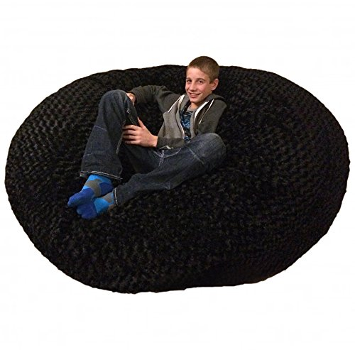 SLACKER sack 6RBlackFurr Foam Beanbag Chair 6' Black