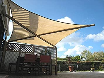 Quictent 185HDPE Rectangle Sun Shade Sail Outdoor Patio Lawn Garden Canopy Top Cover 98 UV-Blocked 10 x 15 ft, Sand