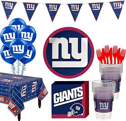Ny Giants Birthday (Party City New York Giants Super Party Supplies for 18 Guests, Include Plates, Napkins, Table Cover, and)