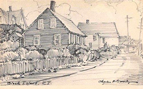 Block Island Rhode Island Street Scene Artist Signed Antique Postcard J70096 - Island Signed