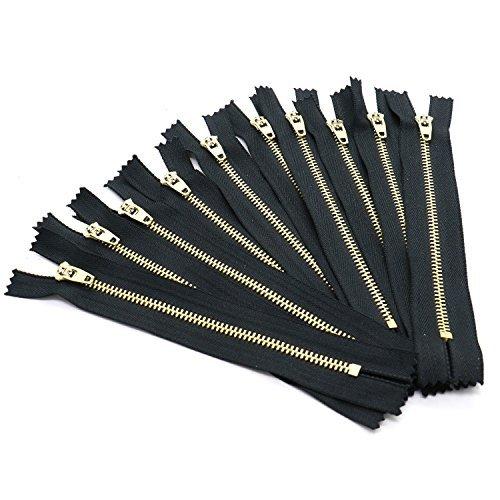Rugjut 6 Inch Brass Metal Jean Zipper Closed End Zipper On Black Tape,Set of 10 ()