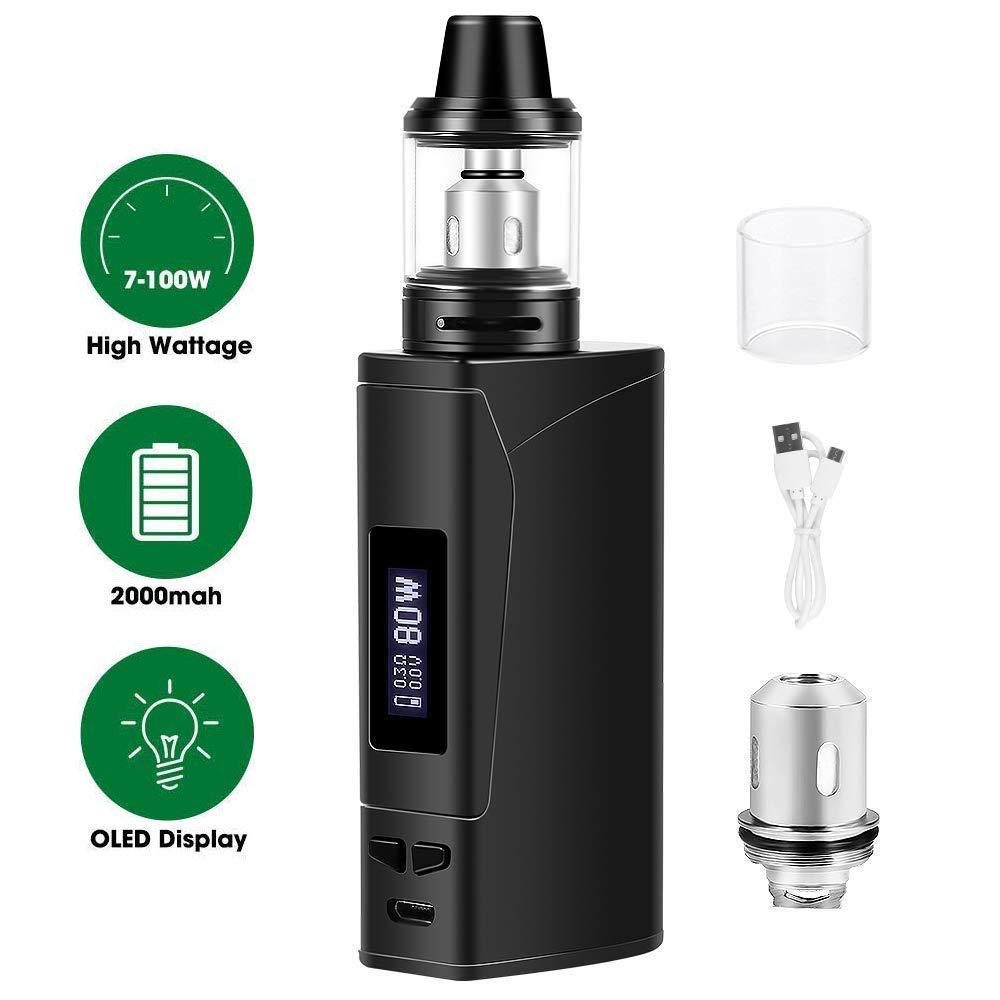 Cigarrillos electrónicos,E cigarette starter kit Armor 100w, E Cigs, Batería recargable de 2000 mah, Enorme Kit de Vape con pantalla,Sin Nicotina y Sin E- ...