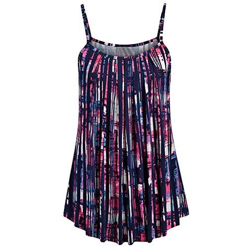 Women Tops Summer Printed Sleeveless Vest Sling Blouse Tank Tops Purple