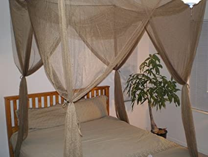 Brown 4 Corner / Post Bed Canopy Functional Mosquito Net Queen King : tree bed canopy - memphite.com