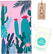 SomerSide Pink Cactus Sustainable Sand Free Beach Towel 63x35 Inches   Lightweight Quick Dry Beach Towel Made