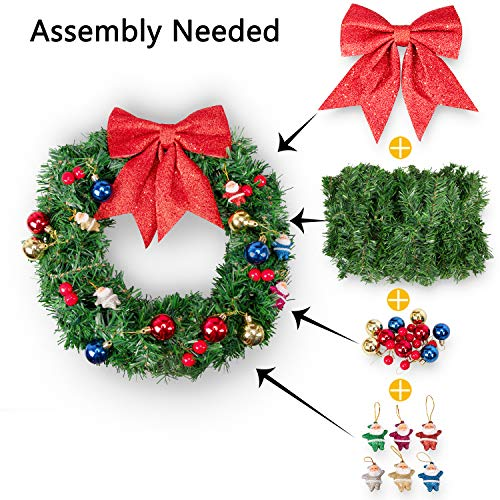 luck sea Christmas Wreath Front Door Decorations Garland DIY Materials - Xmas Winter Wonderland Holiday Theme Supplies Hanging Ornaments Berries Santas Balls Bowknot (Assembly Needed)]()