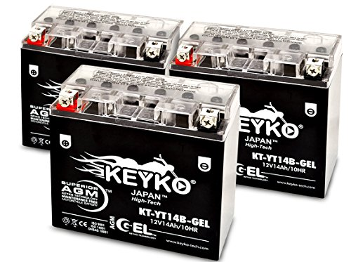Yamaha XV1900CT Stratoliner 2006-2007, 2009 SLA YT14B-BS / YT14B-4-BS Maintenance Free AGM GEL Motorcycle Extreme High Performance Battery Replacement Genuine KEYKO - 3 Pack -  KEYKO Technologies LLC, KT-YT14B-GEL-FBS-MC012-PK3