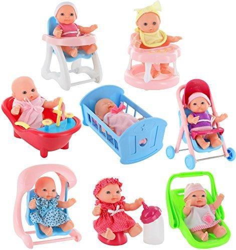 Click N' Play - Juego de 8 muñecas pequeñas de 12,7 cm con Accesorios, carriola, Cuna, Silla Alta, Tina, Asiento de bebé,...
