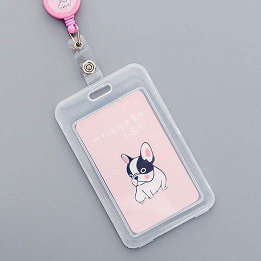 Protector Tarjeta Identificativa con Cuerda Retráctil, Botón Funda de Tarjeta Transparente para Oficina o Trabajo - Unicornio - Perro rosa