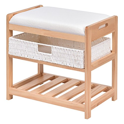 Giantex Shoe Bench Rack 2 Tier with Padded Seat & Storage Basket Shelf Rack Wood Construction Organizer for Entryway Bedroom Living Room Hallway Garage by Giantex