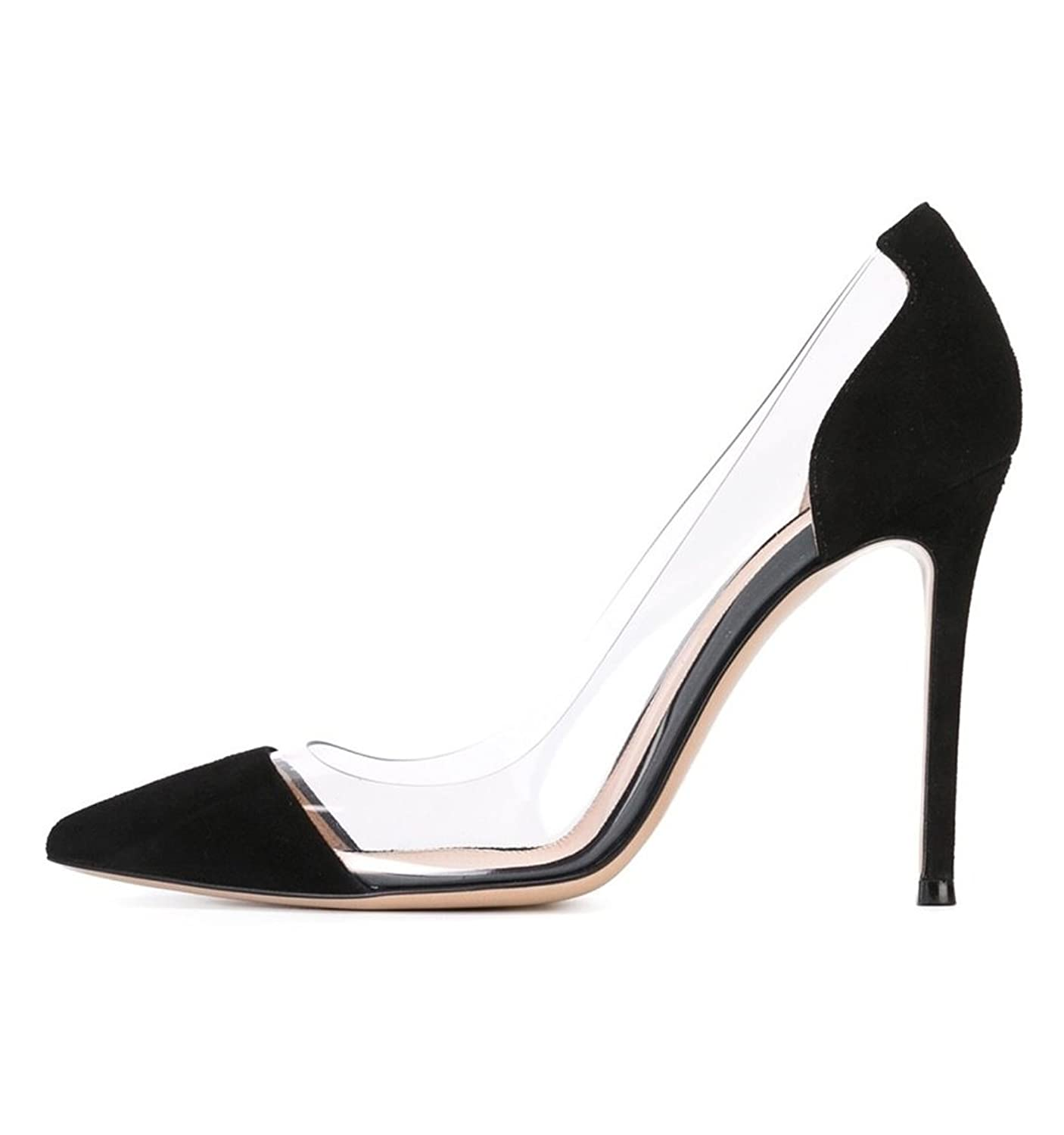 9578c779a2c1 ViViKiKi Women s 100mm Pointed Cap Toe High Heel Pumps Slip On PVC Side  Party Dress Shoes