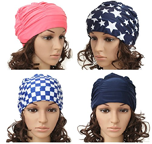 1950s Style Hats for Sale Eforstore Swim Cap Nylon Swimming Caps Hat for Long Hair Adult Women Men $9.99 AT vintagedancer.com