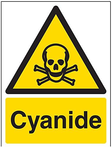 vsafety Signs 6 a014an-s cianuro ADVERTENCIA sustancia y quí micos señ al, autoadhesivos, vertical, 150 mm x 200 mm, color negro/amarillo 150mm x 200mm VSafety Ltd. 6A014AN-S