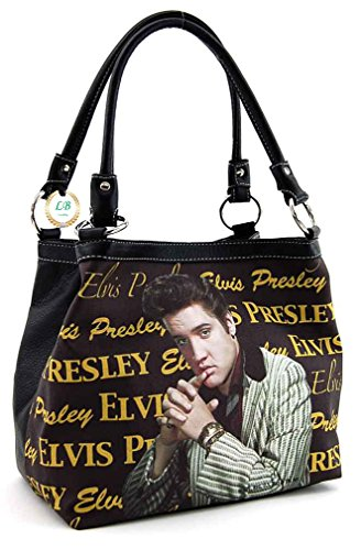 Elvis Presley Faux Leather Medium Purse, Two Way Style (Brown) (Brown Presley Leather)