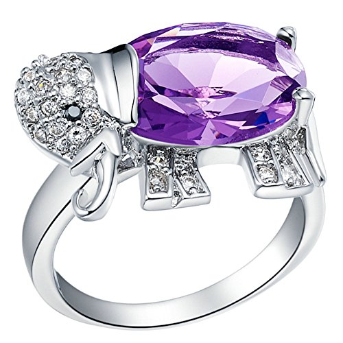Onefeart White Gold Plated Ring Girl Women Purple Crystal Elephant Shape For Christmas Present Size 9