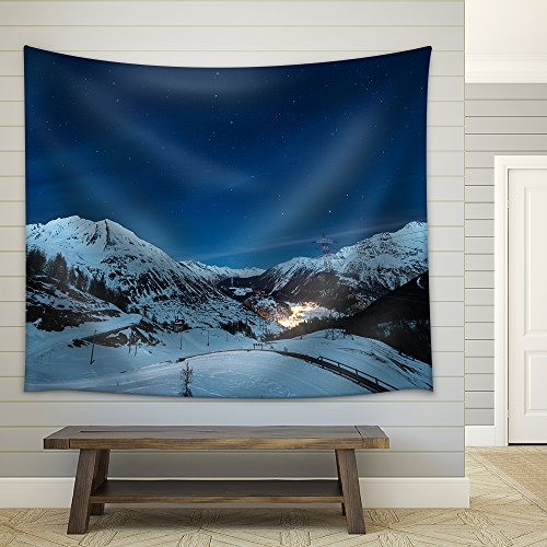 Aerial View of La Thuile Village Glowing in The Night Famous Ski Resort in Aosta Valley Italy Fabric Wall