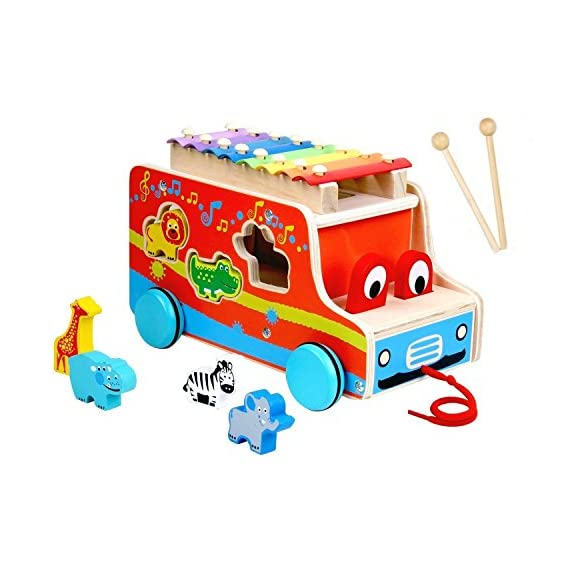 Toyshine 3 in 1 Wooden Xylophone, Pull-Along Toy with, 6 Animals, 4 Child-Safe Mallets, Multi-Coloured