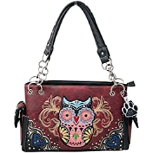 HW Collection Western Colorful Owl Art Hearts Concealed Carry Handbag Purse