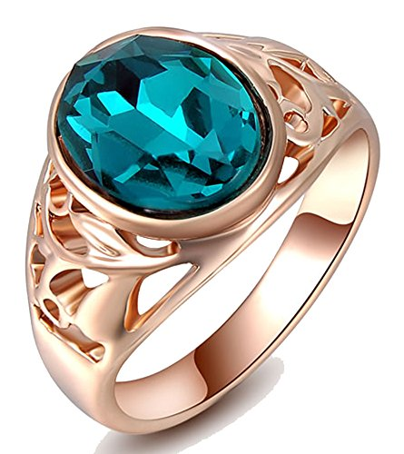 Kaizer Peculiar Blue 18k White Gold Plated High Quality AAA Swiss Zircon Inspired By Swarovski Element Inspired Ring for Women/Girls (Valentaine Promoise)