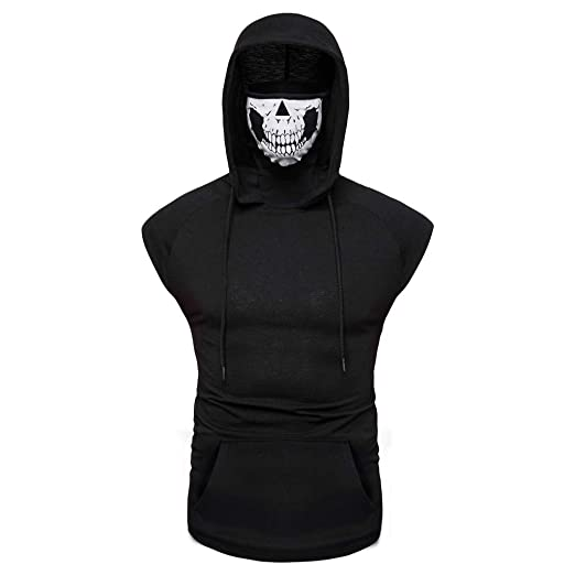 0f8b42c8bd608 Colmkley Men's Fashion Pullover Hooded Tops Casual Mask Skull Hoodie  Sweatshirts