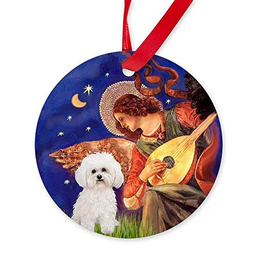 EvelynDavid New Year Christmas Tree Decoration Mandolin Angel & Bichon Frise 2 Ornament Round Christmas Ornament ()
