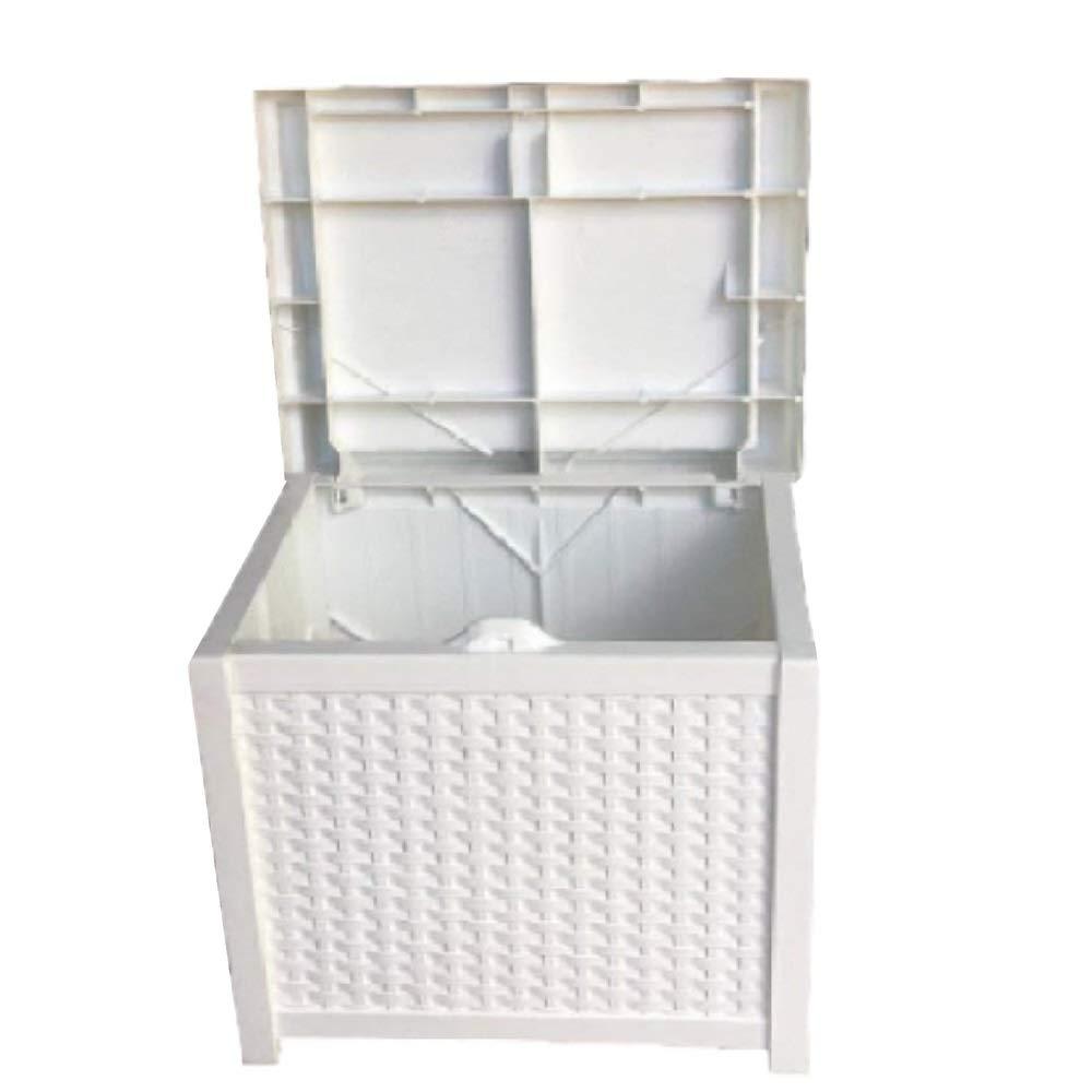 20 Gallon Deck Box Patio Wicker Storage White Furniture Seat Outdoor Indoor Garden Yard Resin Basket Container & eBook