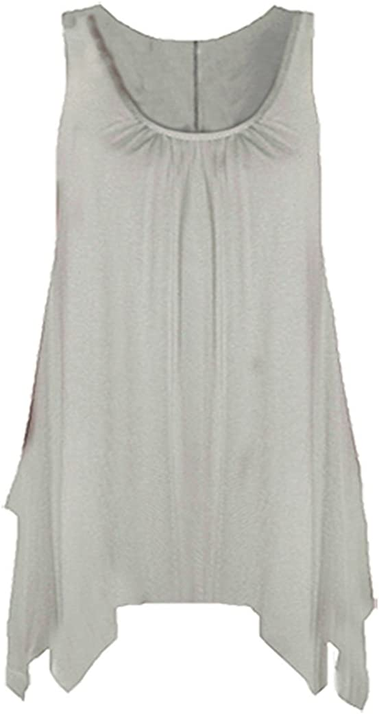 Womens Hanky TOP Summer Gathered Ladies Plus Size 18 20 22 24 26 Vest Hem Flared Plain Printed Swing