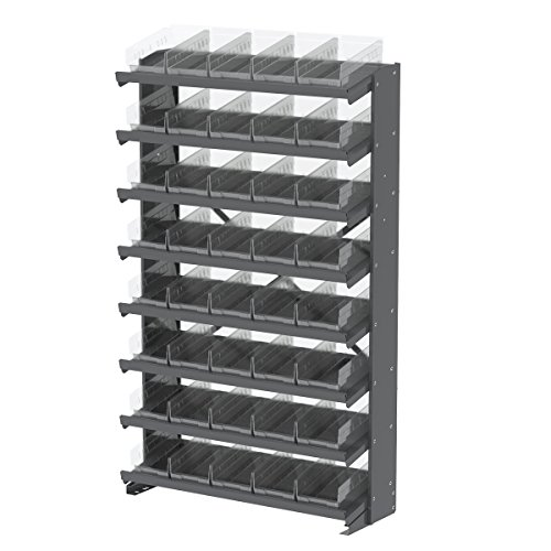 Akro-Mils APRS130SC 1-Sided Pick Rack with 48 Shelf Bins, 12'', Gray/Clear by Akro-Mils