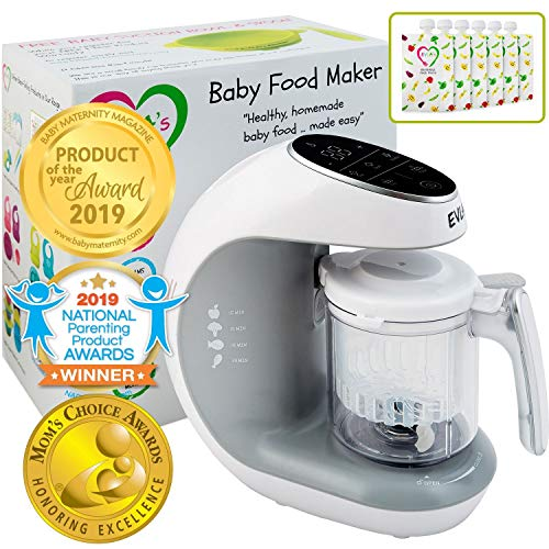 Baby Food Maker | Baby Food Processor Blender Grinder Steamer | Cooks & Blends Healthy Homemade Baby Food in Minutes | Self Cleans | Touch Screen Control | FDA Approved | 6 Reusable Food Pouches