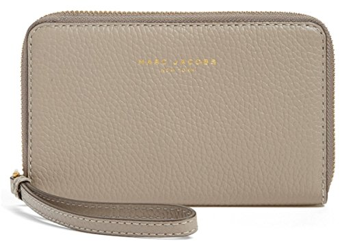 Marc Jacobs Pike Place iPhone X 8 7 Leather Wristlet Wallet, Cement