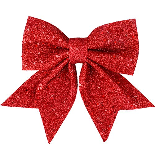 Vesil Large Red Glitter Bow Christmas Ties Ribbon Bows Ornaments, 10