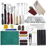 Miusie - Juego de 60 piezas de herramientas de piel para manualidades para principiantes y profesionales, kit de manualidades para encuadernación de libros, costura, manualidades de piel, trabajo y fabricación de piel