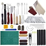 #6: Practical Leather Tools MIUSIE 60 PCS Complete Craft Sewing Kit for Beginner/Professional-Leather Crafting Kit for Bookbinding /Sewing/Leather Craft DIY/Leather Working/Leather Making