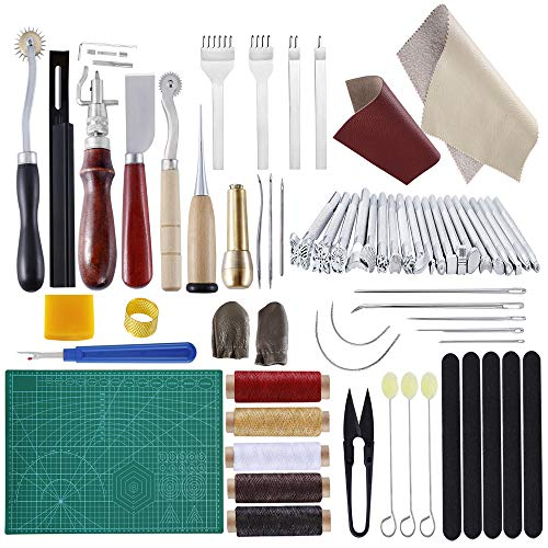 BUTUZE Practical Leather Tools 60 PCS Complete Craft Sewing Kit for Beginner/Professional-Leather Crafting Kit for Bookbinding/Sewing/Leather Craft DIY/Leather Working/Leather Making