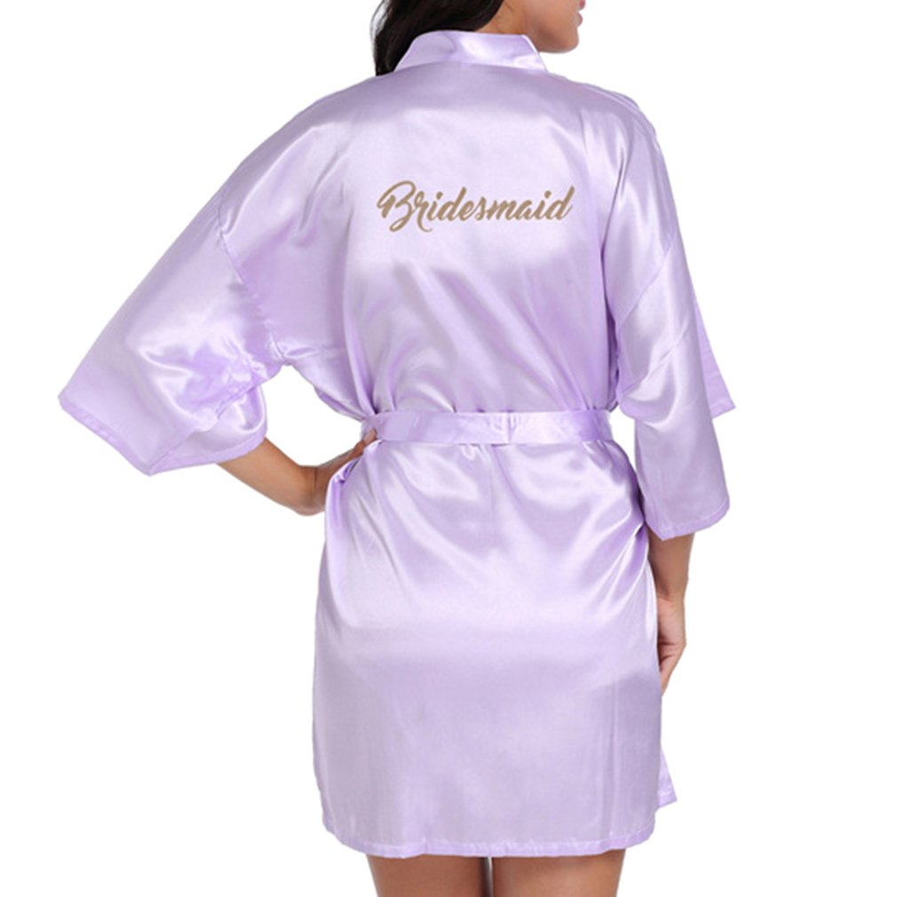 Hibote Hochzeit Brautjungfer Robe Short Kimono Robe Nacht Robe Bademantel Fashion Dressing Gown f/ür Frauen