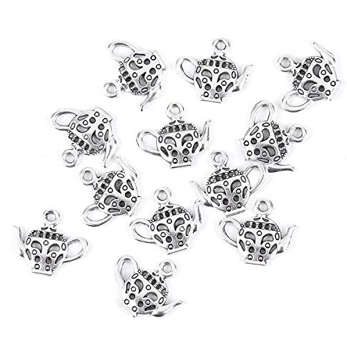 - Monrocco 100 Pcs Antique Silver Teapot Tea Kettle Charm for Jewelry Making
