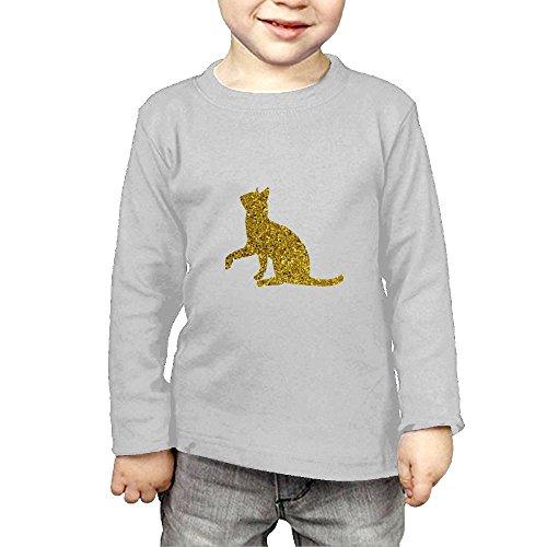 (Long Sleeves Crew Neck T-Shirt Comical Golden Glitter Angel Cat for Girl)