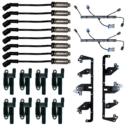 8 Delphi Ignition Coils + 2 Herko Bracket and Harness + 8 Herlux Spark Plug Wires with Heat (Ignition Shield Bracket)
