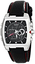 Casio Men's EFA-120L-1A1VDF Edifice Stainless Steel Watch with Black Leather Band