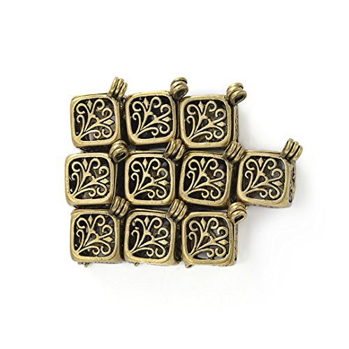 Brass Pendant Jewelry (Yumei Jewelry Antique Bronze Aromatherapy Diffuser Pendant Cubic Brass Fligree Cage Locket Charms,Pack of 10)